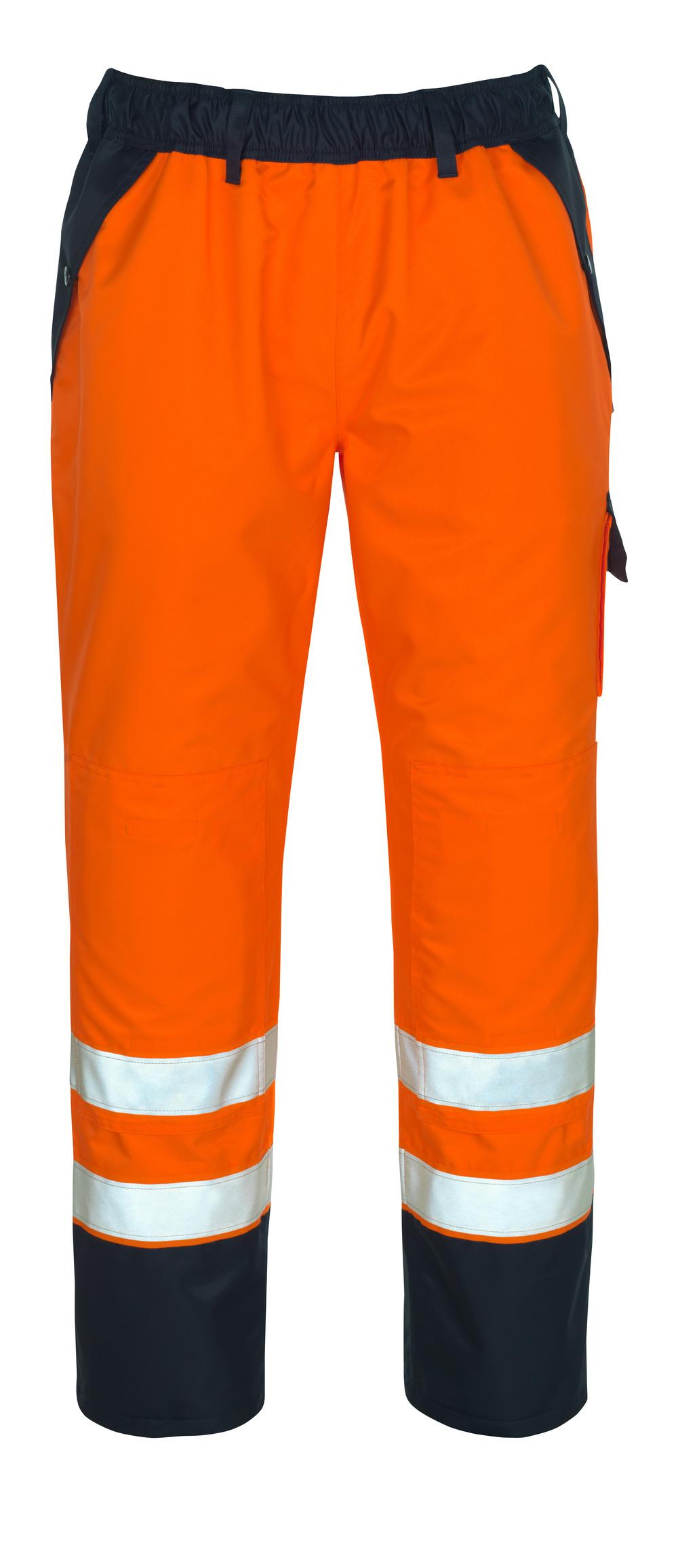07090-880-141 Overtrekksbukse med knelommer - hi-vis oransje/marine