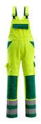 07169-470-1703 Overall med knelommer - hi-vis gul/grønn