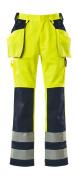 09131-470-171 Bukser med kne- og hengelommer - hi-vis gul/marine