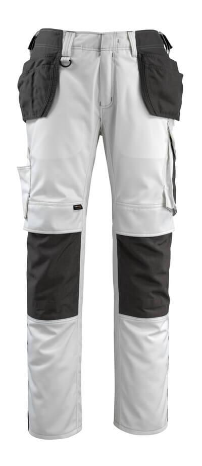 14031-203-0618 Bukser med kne- og hengelommer - hvit/mørk antrasitt