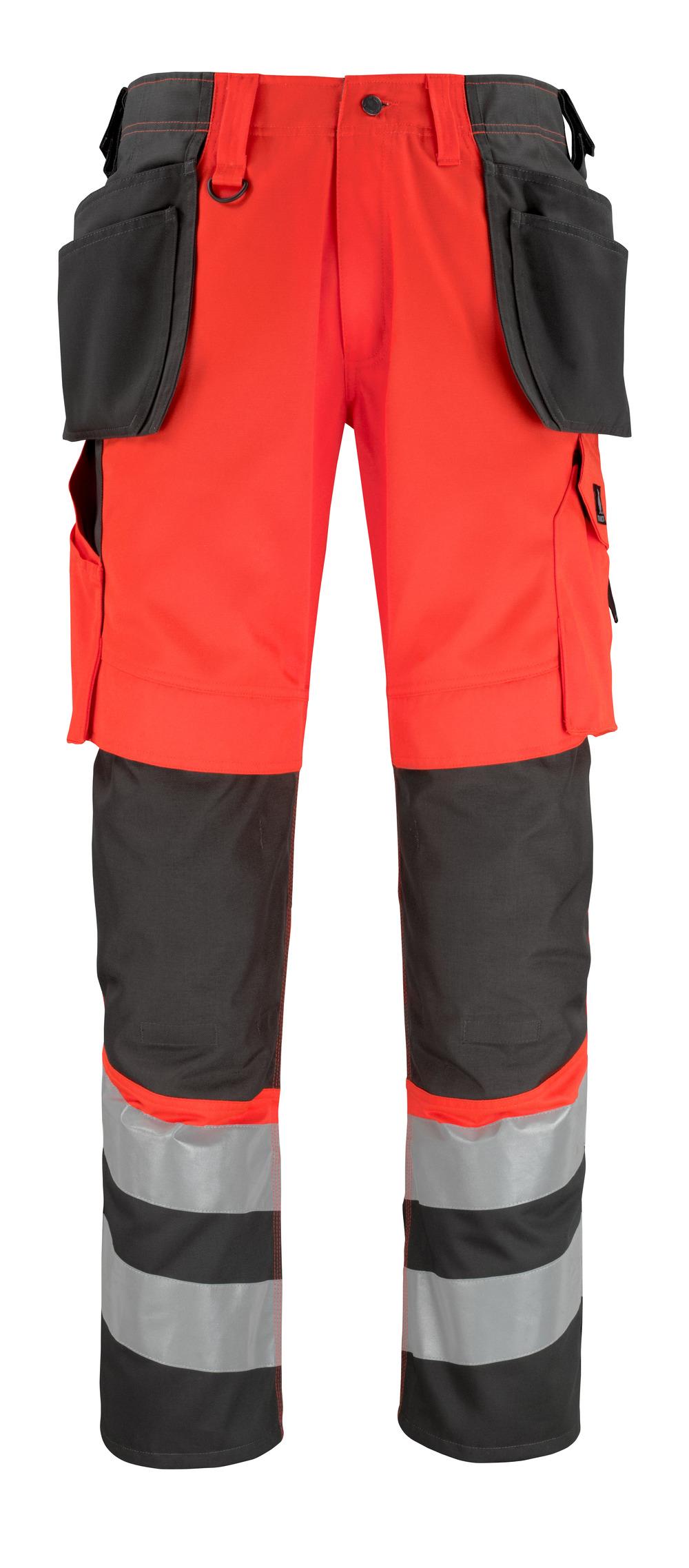 14931-860-A49 Bukser med kne- og hengelommer - hi-vis rød/mørk antrasitt