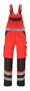 14969-860-A49 Overall med knelommer - hi-vis rød/mørk antrasitt