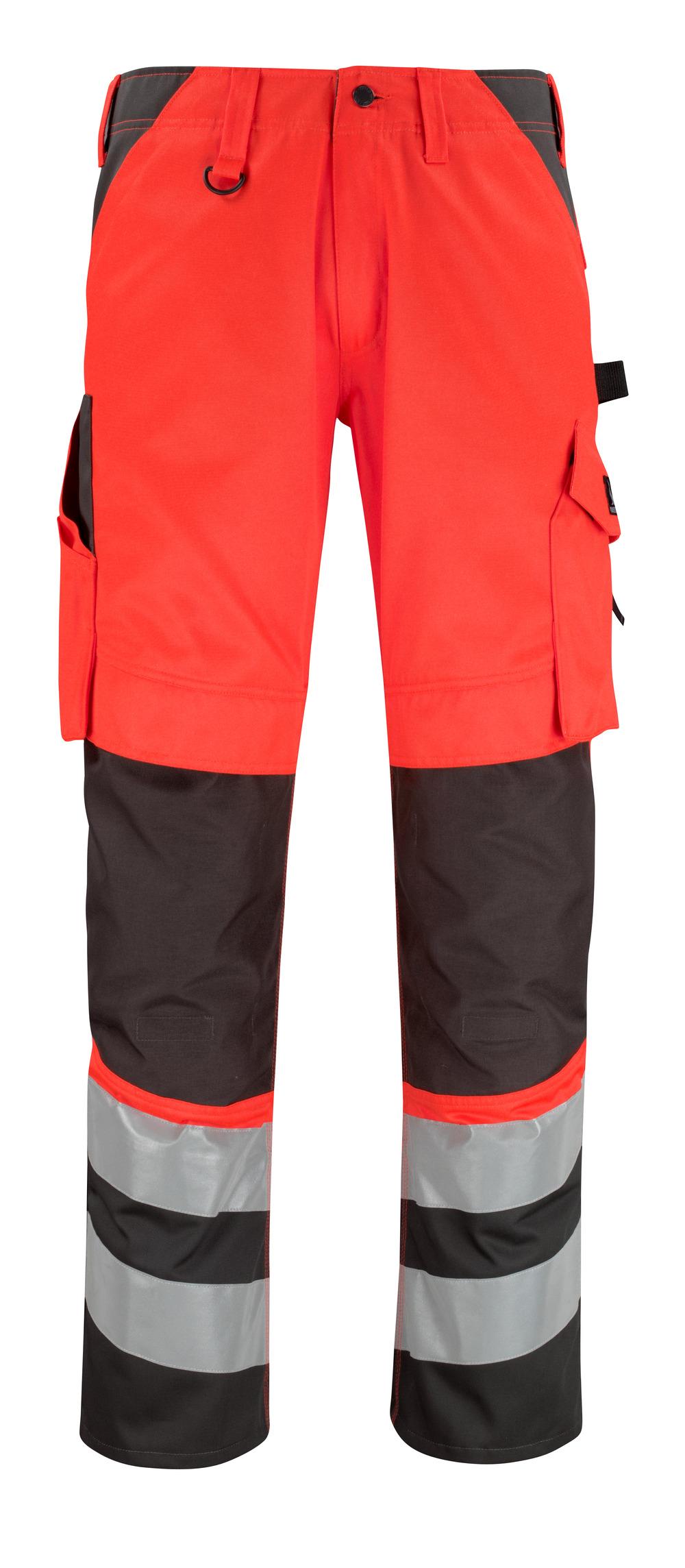 14979-860-A49 Bukser med knelommer - hi-vis rød/mørk antrasitt