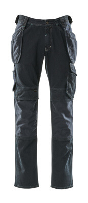 15131-207-86 Jeans med kne- og hengelommer - mørk blå denim