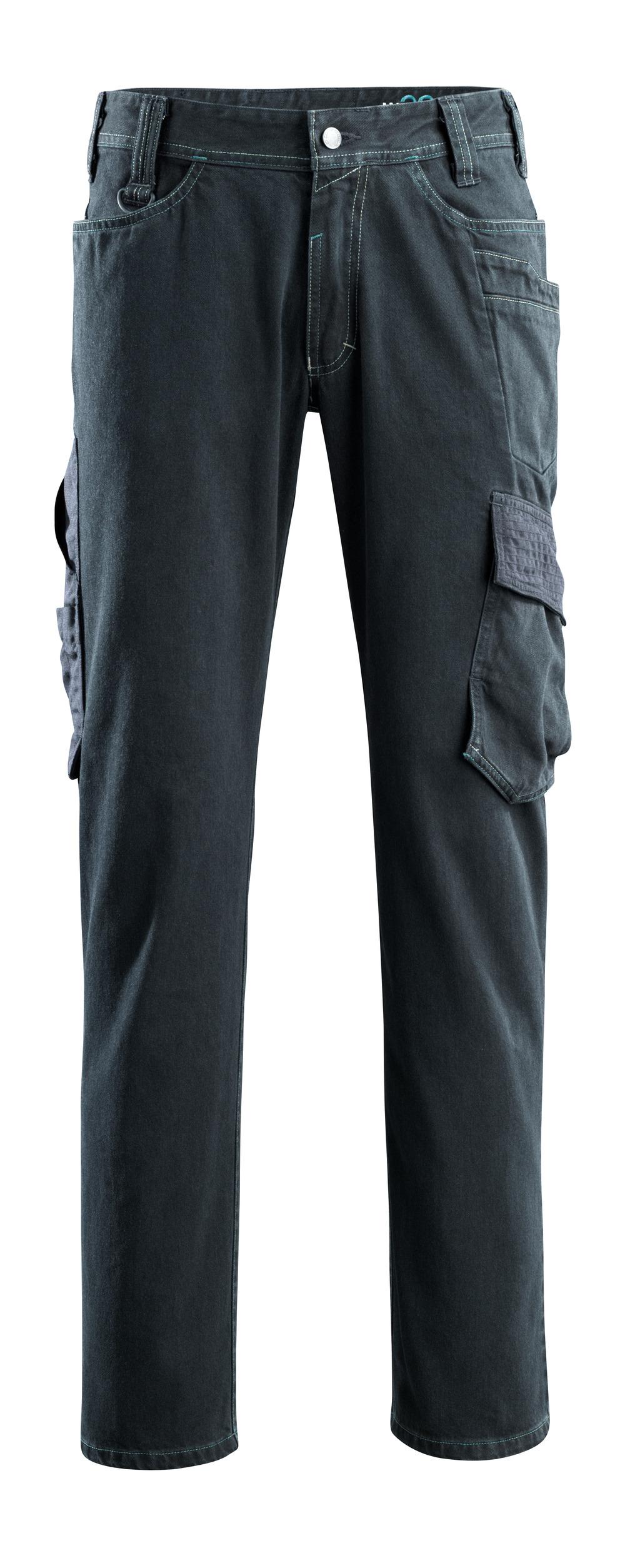 15279-207-86 Jeans med lårlommer - mørk blå denim