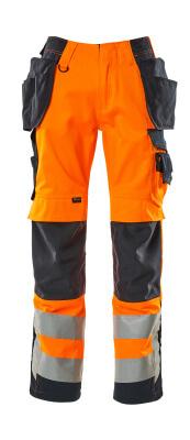 15531-860-14010 Bukser med kne- og hengelommer - hi-vis oransje/mørk marine