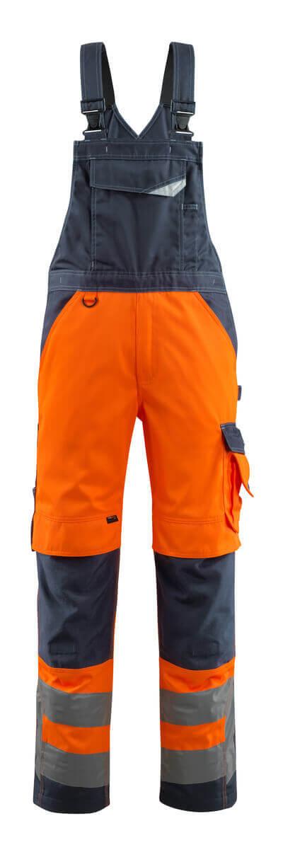 15569-860-14010 Overall med knelommer - hi-vis oransje/mørk marine