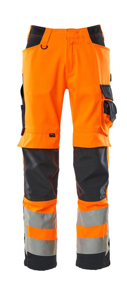 15579-860-14010 Bukser med knelommer - hi-vis oransje/mørk marine