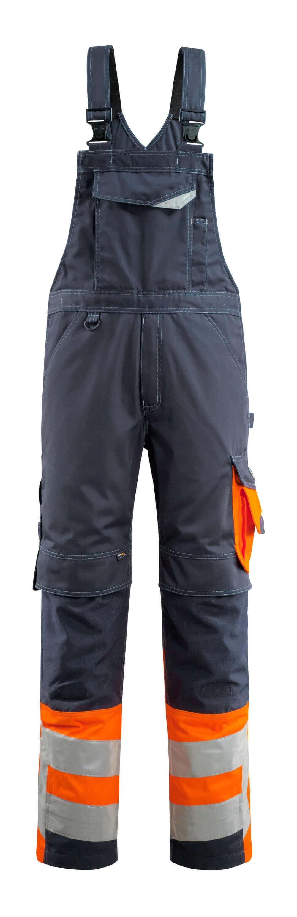15669-860-01014 Overall med knelommer - mørk marine/hi-vis oransje