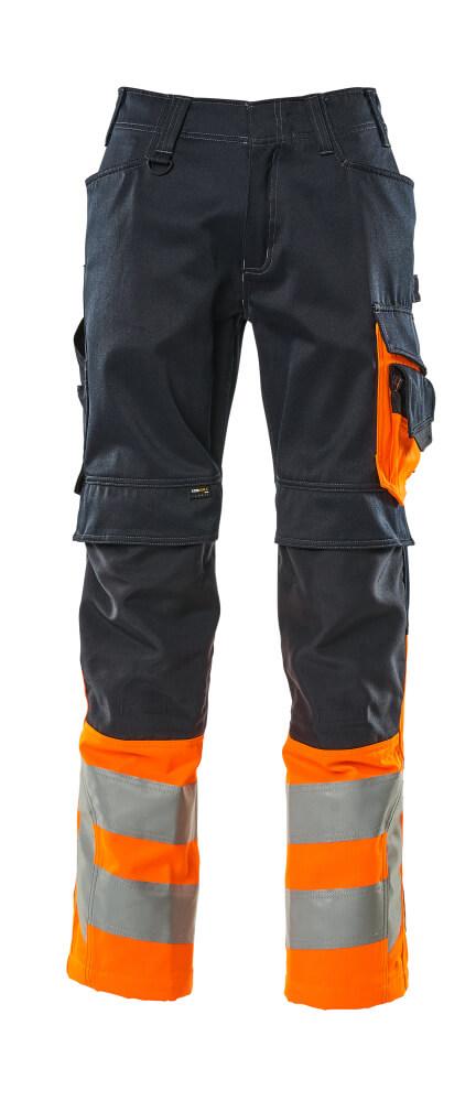 15679-860-01014 Bukser med knelommer - mørk marine/hi-vis oransje