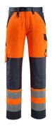 15979-948-14010 Bukser med knelommer - hi-vis oransje/mørk marine