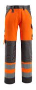 15979-948-1418 Bukser med knelommer - hi-vis oransje/mørk antrasitt