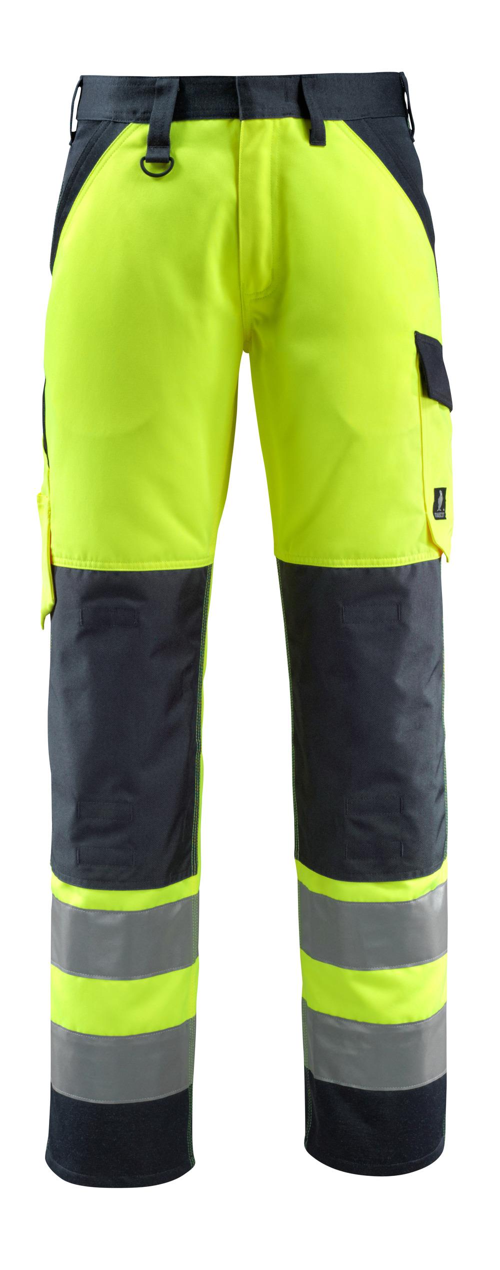 15979-948-17010 Bukser med knelommer - hi-vis gul/mørk marine