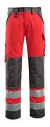 15979-948-22218 Bukser med knelommer - hi-vis rød/mørk antrasitt