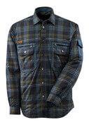 17004-991-01085 Skjorte med fôr - mørk marine/steinblå