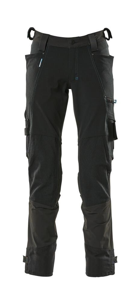 17079-311-09 Bukser med knelommer - svart