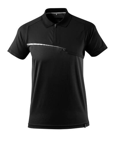 17283-945-09 Pikéskjorte med brystlomme - svart