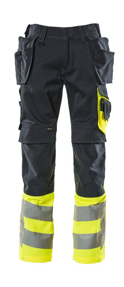 17531-860-01017 Bukser med kne- og hengelommer - mørk marine/hi-vis gul
