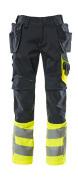 17531-860-01017 Bukser med hengelommer - mørk marine/hi-vis gul