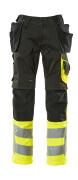 17531-860-0917 Bukser med kne- og hengelommer - svart/hi-vis gul