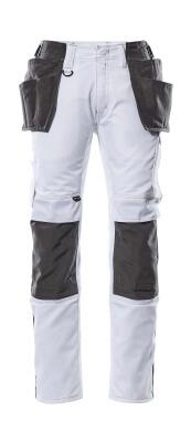 17631-442-0618 Bukser med kne- og hengelommer - hvit/mørk antrasitt