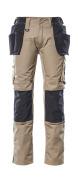 17631-442-5509 Bukser med kne- og hengelommer - lys kaki/svart