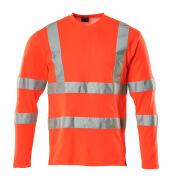 18281-995-222 T-skjorte, langermet - hi-vis rød