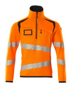 19005-351-14010 Strikkegenser med kort glidelås - hi-vis oransje/mørk marine
