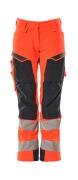 19078-511-14010 Bukser med knelommer - hi-vis oransje/mørk marine