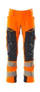 19079-511-14010 Bukser med knelommer - hi-vis oransje/mørk marine