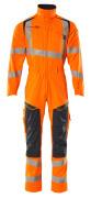 19519-236-14010 Kjeledress med knelommer - hi-vis oransje/mørk marine