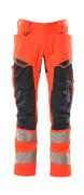19579-236-14010 Bukser med knelommer - hi-vis oransje/mørk marine