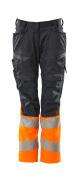 19678-236-01014 Bukser med knelommer - mørk marine/hi-vis oransje