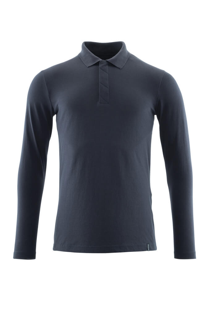 20483-961-010 Pikéskjorte, langermet - mørk marine