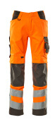 20879-236-1418 Bukser med knelommer - hi-vis oransje/mørk antrasitt