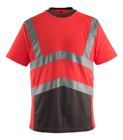 50118-949-A49 T-skjorte - hi-vis rød/mørk antrasitt