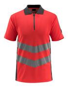 50130-933-22218 Pikéskjorte - hi-vis rød/mørk antrasitt