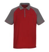 50302-260-02888 Pikéskjorte med brystlomme - rød/antrasitt