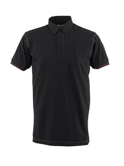 50351-833-09 Pikéskjorte med brystlomme - svart