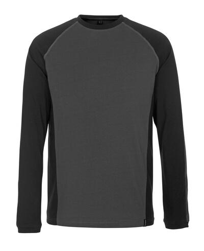 50504-250-1809 T-skjorte, langermet - mørk antrasitt/svart