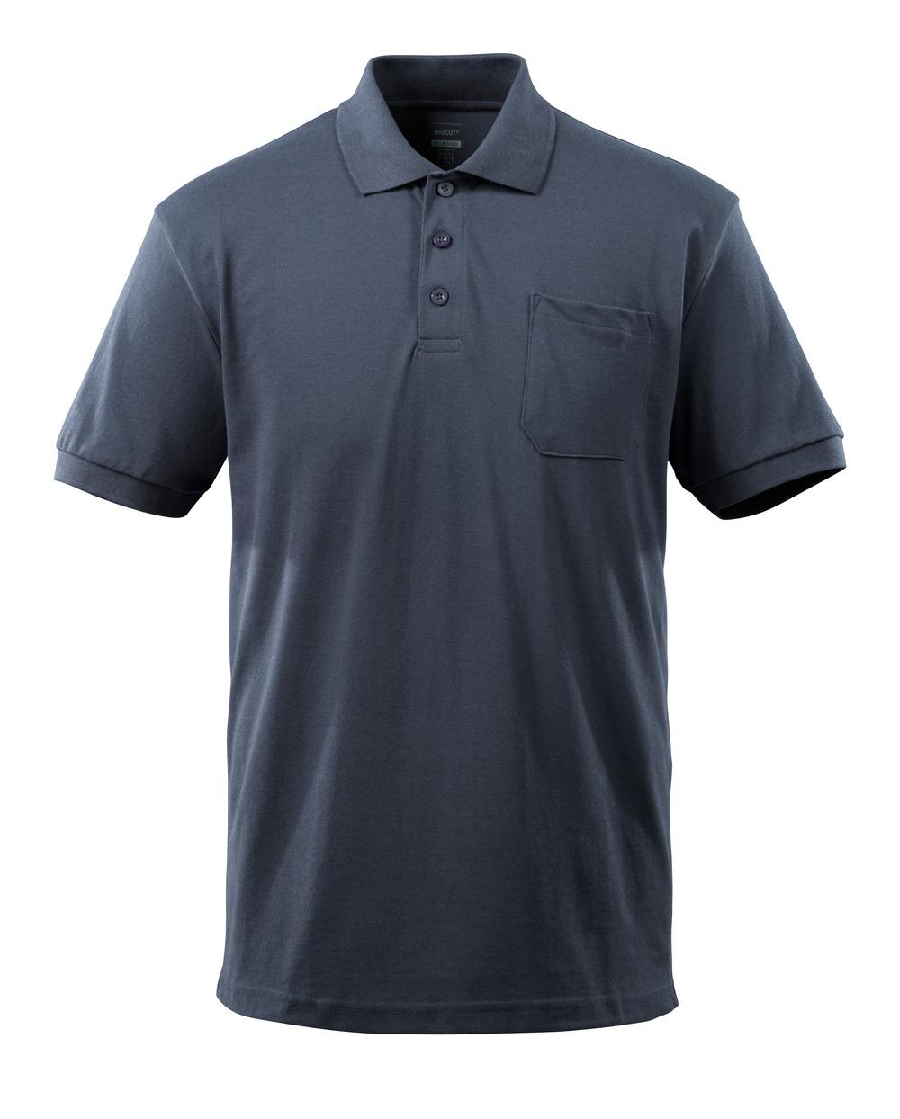 51586-968-010 Pikéskjorte med brystlomme - mørk marine